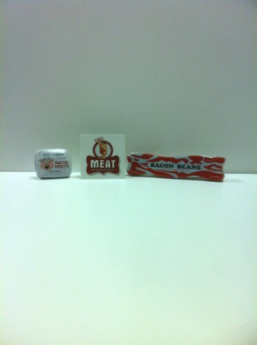 MEAT MANIAC Novelty Bacon Candy Combo Gift Pack with Sticker- Bacon Jellybeans & Bacon Mints - 1