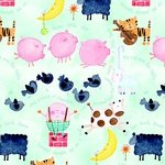 No Slip Playard Sheet (Animals Blue)
