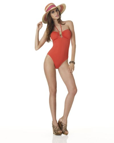 Solid Halter Bandeau Maillot Swimsuit
