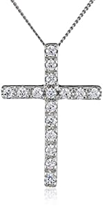 """Sterling Silver and Swarovski Zirconia Cross Pendant Necklace, 18"""" from Amazon Collection"""