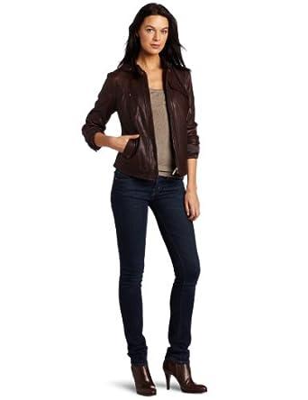 Cole Haan Women's Vintage Leather Jacket, Dark Brown, X-Large