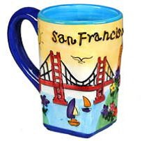 San Francisco Coffee Mug Hand Painted Puff Yellow Square Bottom City Coffee Mugs