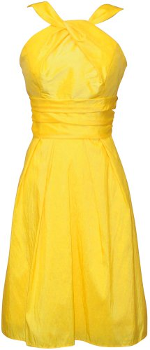 Taffeta Halter Bridesmaid Dress Prom Party Formal Gown Knee-Length, XL, Yellow
