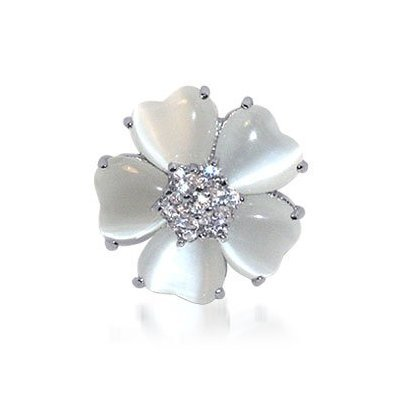 TDRZ-1610-C-10 Nickel Free .925 Sterling Silver Round Cubic Zirconia and Heart Mother of Pearl Polish Finished Rhodium Plated 5mm Band Flower Ring Size 5, 6, 7, 8, 9, 10