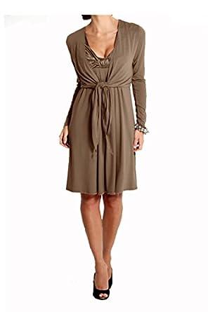 heine damen kleid kleid mit bolero jacke taupe braun in. Black Bedroom Furniture Sets. Home Design Ideas