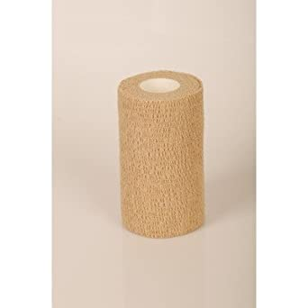 """Medline PRM088004 Caring Non-Sterile Latex-Free Self-Adherent Wrap, 4""""x10YD, Tan (Case of 18)"""