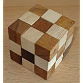 【ParadoxX】 スネークキューブ Sサイズ 木製立体 3Dパズル 大人も夢中!頭の体操、知育玩具に