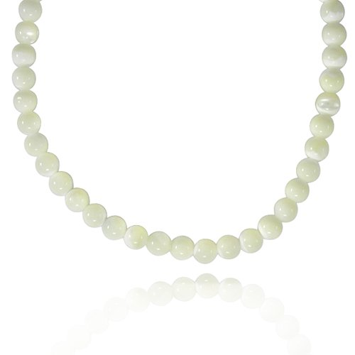 8mm Round Mother-Of-Pearl Bead Necklace, 18+2