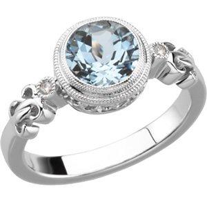 cheap 14k white gold genuine aquamarine diamond ring by. Black Bedroom Furniture Sets. Home Design Ideas