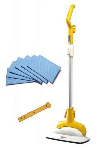 Haan FS-20 Steam Cleaning Floor Sanitizer with 6 Microfiber Pads and Short Handle Attachment