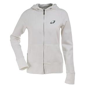 Philadelphia Eagles Ladies Zip Front Hoody Sweatshirt (White) by Antigua