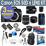 """Canon EOS 50D 15.1 MPDigital SLR Camera with Canon EF-S 18-55mm f/3.5-5.6 IS SLR Lens + Canon EF 75-300mm f/4-5.6 III Telephoto Zoom Lens + Canon 50mm 1.8 Lens+ Rokinon 500mm Telephoto Mirror Lens + 2x T-Mount =1000mm Lens + .40 Super Wide Angle Figheye Lens + (2) 8 Gig Memory Cards + Extra Battery + 3 UV Filters + 1 PC Filer + 50"""" Tripod + Camera Backpack Case + 11 Piece Starter Kit w/ Corel Editing Software + 3 Year Celltime Warranty Repair Package"""