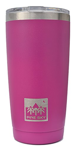 20oz Traveler Tumbler by Pine Sky, Premium Stainless Steel Vacuum Insulated Cup Keeps Drinks Super Hot and Ice Cold - Berry Blossom