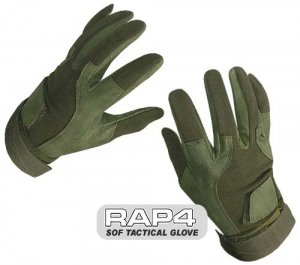 Buy SOF Tactical Gloves (Full Finger - Olive Drab) Small - paintball gloves by Rap4
