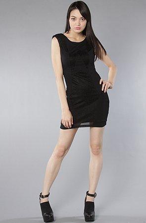 Motel The Bambi Dress in Black Glitter,Dresses for Women