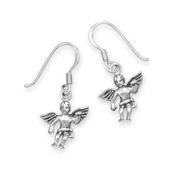 Sterling Silver Earrings Angel on French Hooks