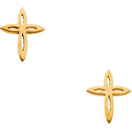 Children's Cross Stud Earrings Dainty in 14K Yellow Gold