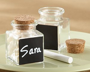 Chalkboard Glass and Cork Favor Jars (8 Sets of 12)