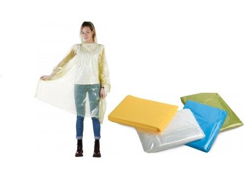 100 PONCHO IMPERMEABILE in PVC con cappuccio Colori assortiti taglia UNICA