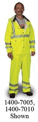 X-Large High-Vis Green Road Crew PVC Heavy Duty .40mm PVC/Polyester Rain Jacket With Detachable Hood And Precision Fit Technology