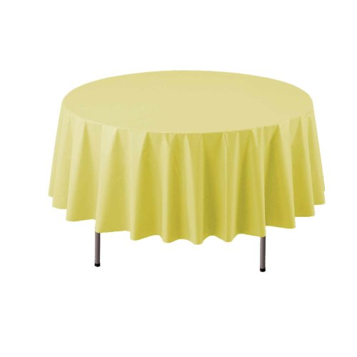 "Party Essentials Heavy Duty Round Plastic Table Cover, 84"", Yellow"