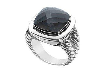 Black Onyx Rope Ring 14K White Gold 10.00 CT TGW