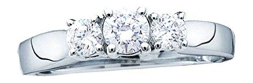 0.25 Cttw 14K White Gold Three Stone Diamond Engagement Ring Closeout