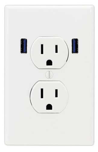 U-Socket Ace-8158 15-Amp Ac Standard Wall Duplex Outlet With Built-In Usb Charger Ports, White