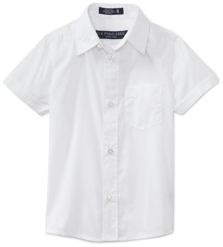 U.S. Polo Assn. School Uniform Little Boys' Short Sleeve Broadcloth Shirt, White, 4