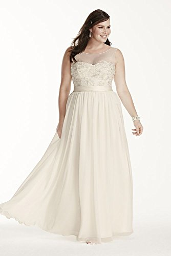 Chiffon Illusion Tank Plus Size Wedding Dress with Lace Style 9MK3747, Ivory,...