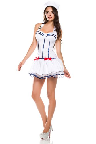 Ninimour- Women's Sailor Pin up Halloween Costume (2XL, white)