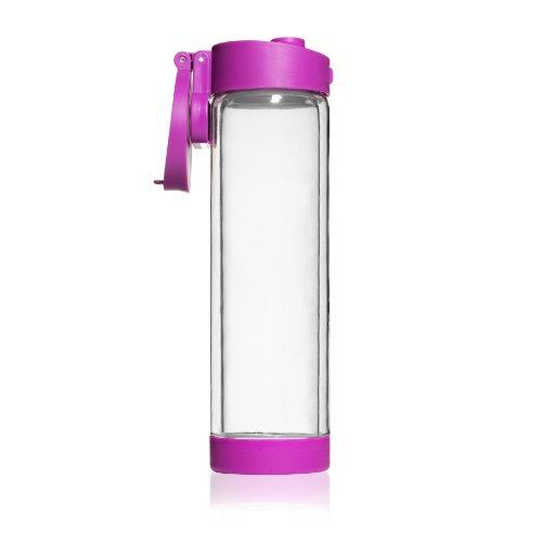 Shatterproof Glass Water Bottle - 16Oz - Double Walled - Purple Flip Cap Sports Water Bottle