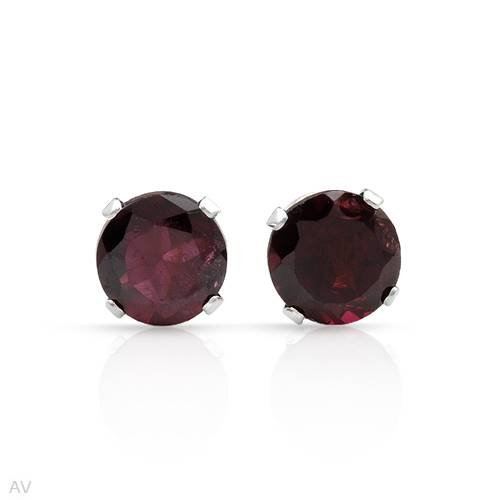 Stud Earrings With 2.20ctw Genuine Garnets Beautifully Designed in 925 Sterling silver