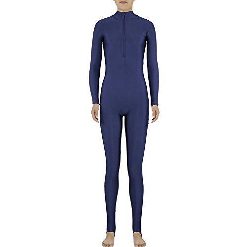 Muka Adult Zentai Spandex Polo Neck Unitard Supersuit Costume Dancewear NAVYBLUE-M (Army Costume Hire)
