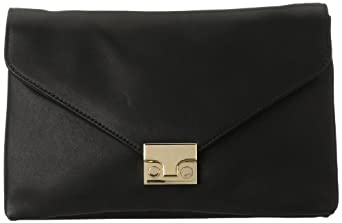 LOEFFLER RANDALL Lock Convertible Clutch,Black,One Size