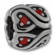 Authentic Biagi Twisted Red CZ Heart Wheel Bead Sterling Silver European Charm