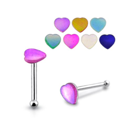 Piercingworld 5 Pieces Mix Color Heart Shaped Synthetic Shell 22Gx1/4 (0.6MMx6MM) 925 Sterling Silver Ball End Nose Pin