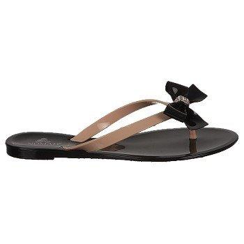 Nomad Womens Pixie Flip Flop Sandals,Black/Tan,9 front-289050