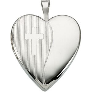 Genuine IceCarats Designer Jewelry Gift Sterling Silver Locket With Cross. 20.50X19.00 Mm Locket With Cross Locket With Cross In Sterling Silver