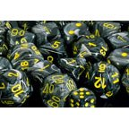 Polyhedral 7-Die Vortex Chessex Dice Set - Black with Yellow Numbers - 1