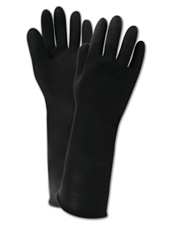 """Magid R935 MultiMaster Heavy Weight Latex Gloves with Embossed Grip, Work, Chemical Resistant, 40 mil Thickness, 14"""" Length, Size 11, Black (Case of 12)"""