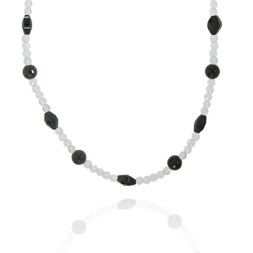 Black Onyx Faceted Fancy-Shaped with Crystal Bead Necklace, 36+2