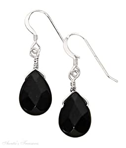 Sterling Silver Faceted Black Onyx Teardrop Dangle Earrings