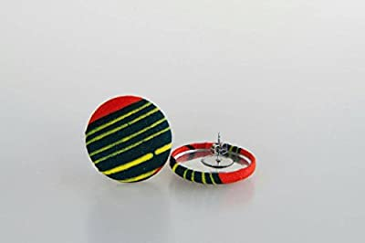 "Fabric button earrings (1 1/8""), African fabric button earrings, Ankara fabric button earrings, Fabric Earrings, Button earrings (Malika)"