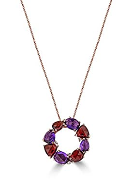 Effy Jewlery Effy 14K Rose Gold Amethyst, Garnet and Diamond Pendant, 8.14 TCW