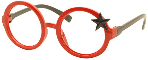 FancyG® Royal Star Kids Retro Classic Style Star Fashion Round Glass Frame Kids Size 3-12 NO LENSES - Red Black