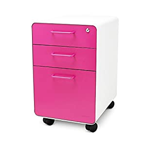 Amazon Com Poppin White Pink Stow Rolling 3 Drawer