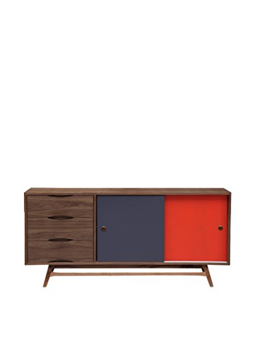 Kardiel Color Pop Mid-Century Modern Sideboard Credenza, Walnut