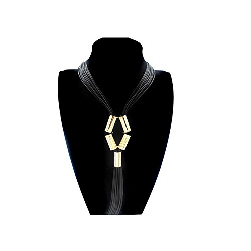 Darkey Wang Fashion Woman's Jewelry Leather Tassels Long Necklace ,Give You Diffent Fashion(Black) (Dean Davidson Jewelry compare prices)