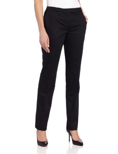 Jones New York Women's Petite Slim Pant With Pockets, Jet Black, 4 at Amazon.com